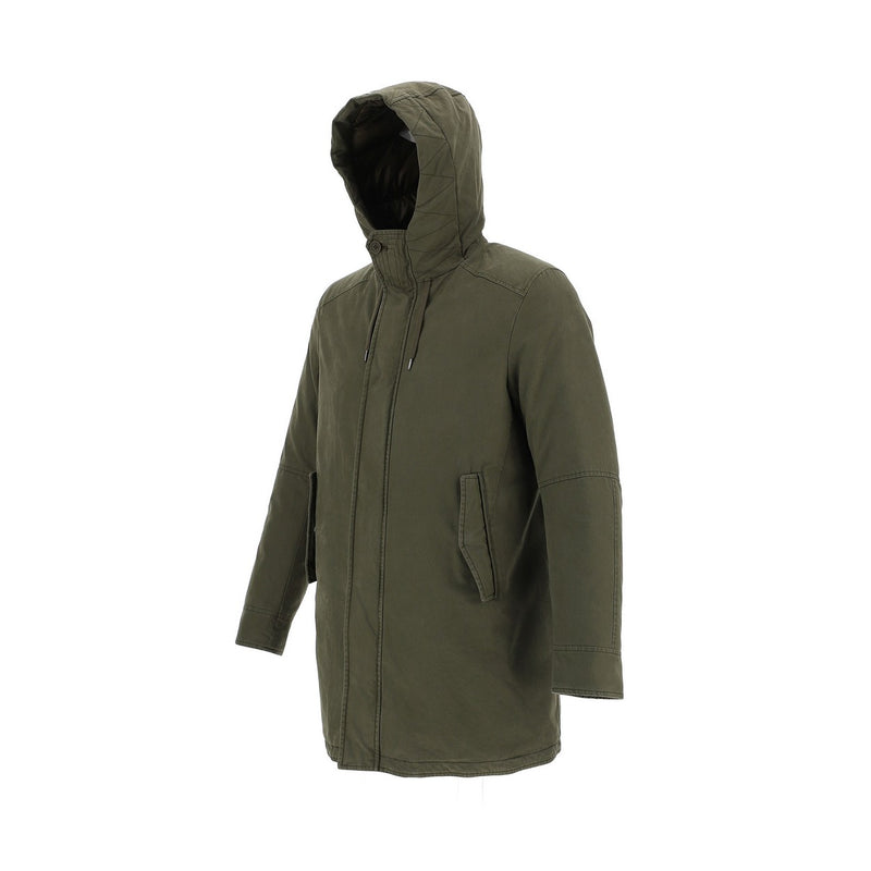 Khaki Hooded Pre-washed Cotton Parka
