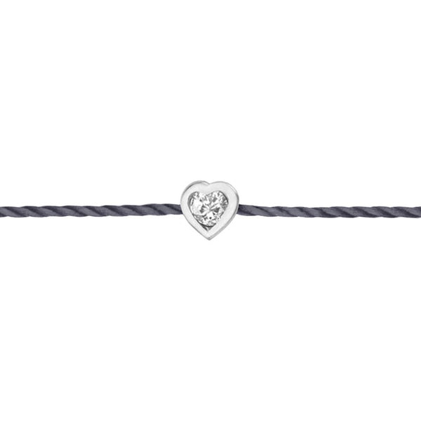 Bracelet Grey Thread Rhodium Silver & Heart Diamond - IDENTITY Collection