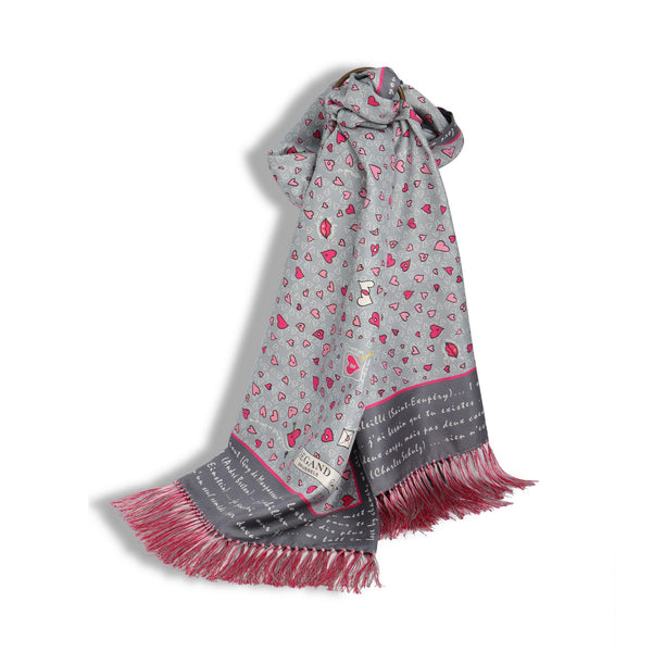 Grey and Pink Silk Hearts Scarf