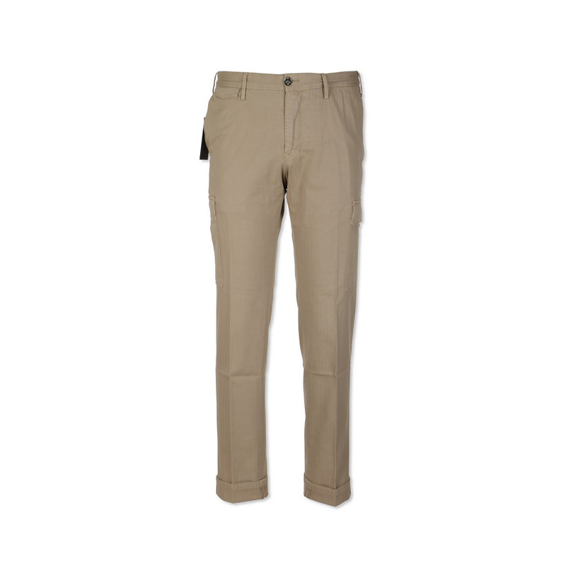 Beige Herringbone Stretch Slim Pants