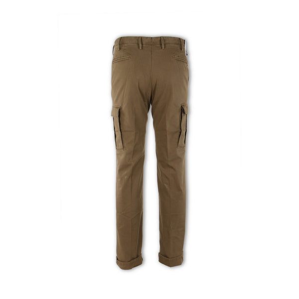 Dark Beige Stretch Cargo Slim Pants