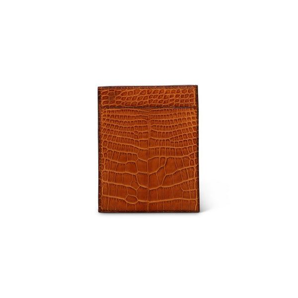 Brown Crocodile Leather Card Holder