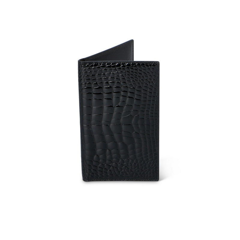Black Crocodile Leather Billfold Cardholder