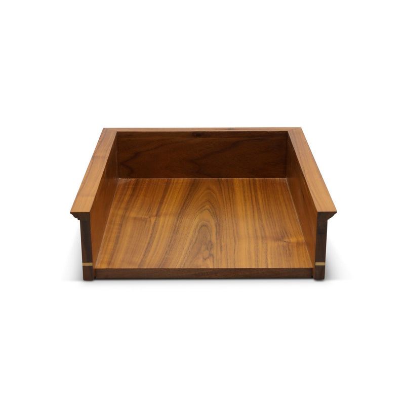 In and Out Walnut Dark Brown Paper Tray