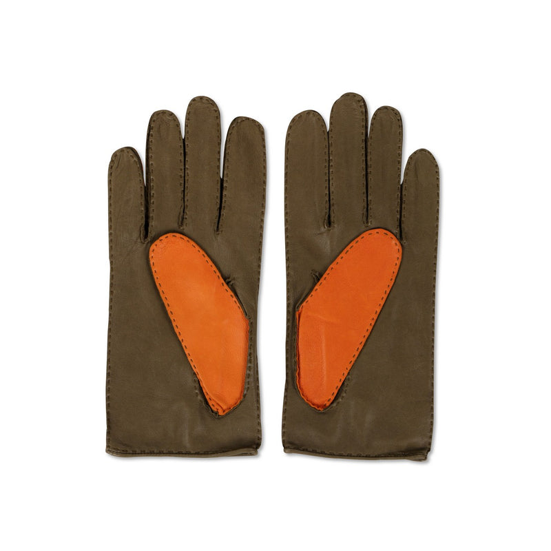 Lamb Leather bi-colour orange grass green Gloves