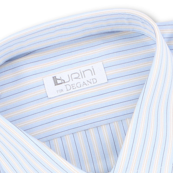 Striped Light Blue and Brown Double Cuff Shirt