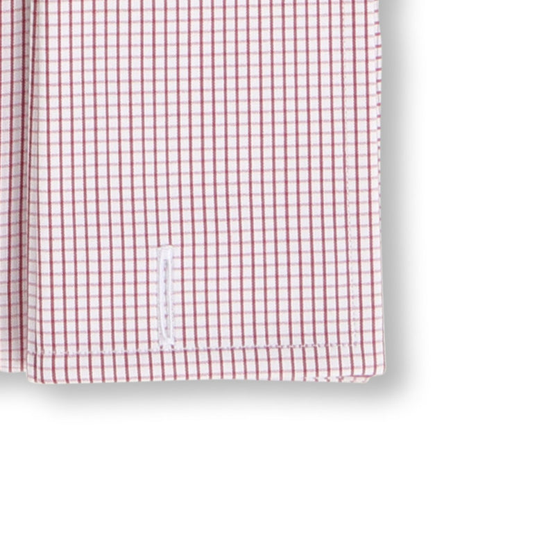 Checked White and Burgundy Double Cuff Shirt