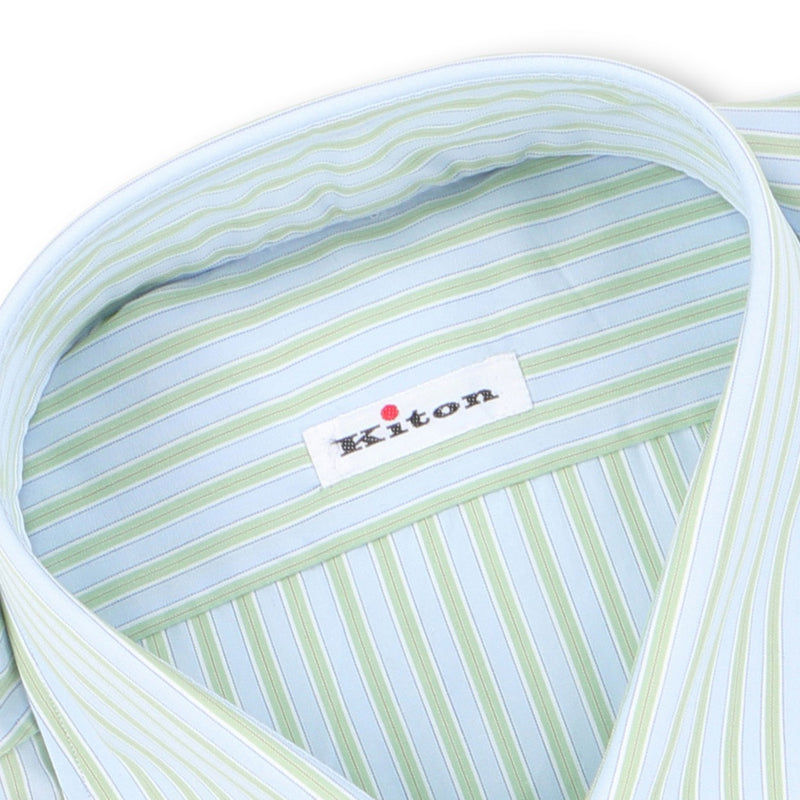 Striped Green and Light Blue Double Cuff Shirt