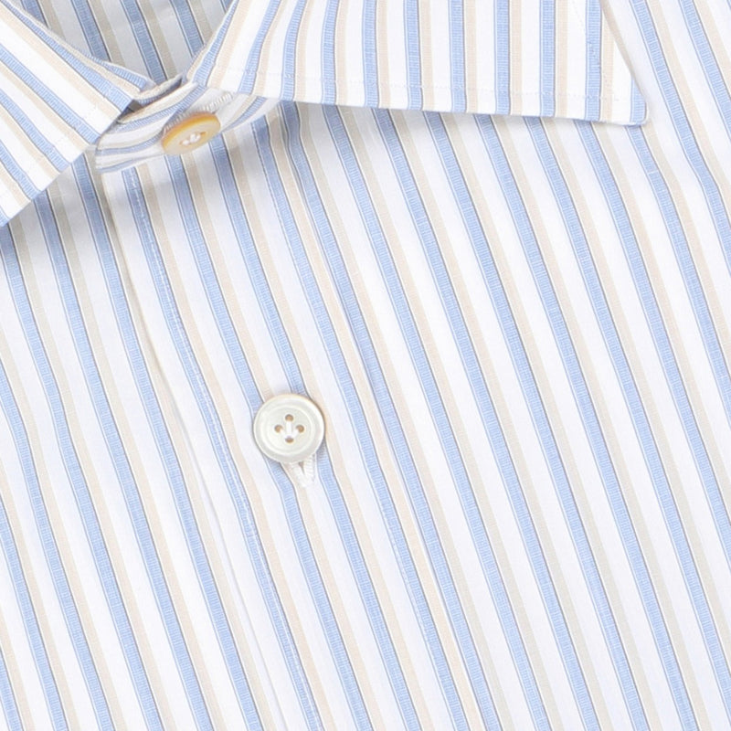 Striped White, Blue and Beige Double Cuff Shirt