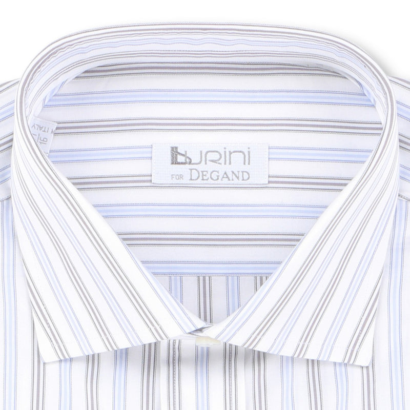 Striped White Blue and Black Double Cuff Shirt