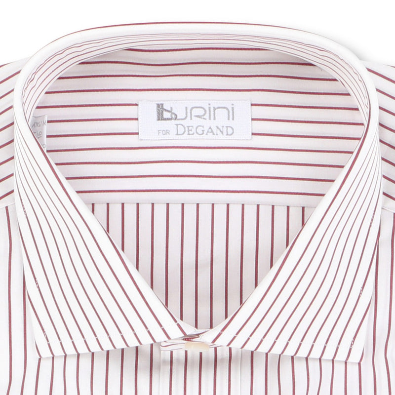 Striped Burgundy Double Cuff Shirt