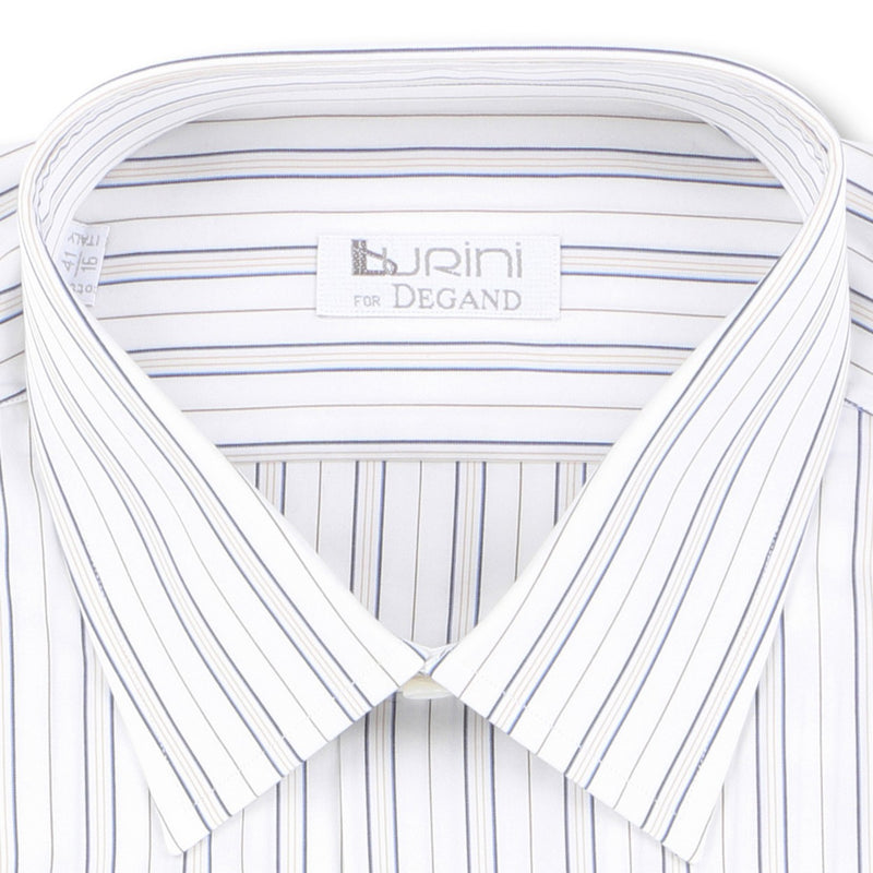 Striped White, Blue and Brown Double Cuff Shirt
