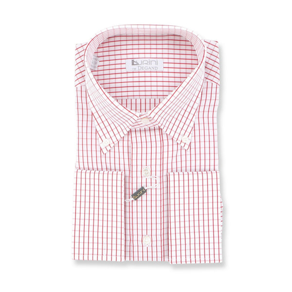 Checked Burgundy Double Cuff Shirt
