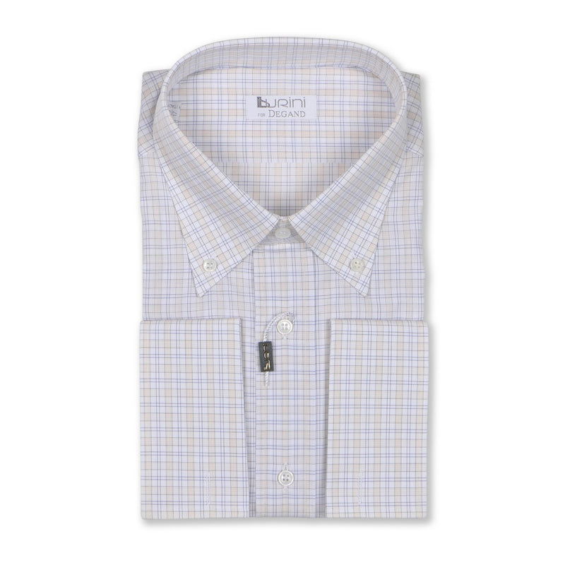 Checked White Double Cuff Shirt