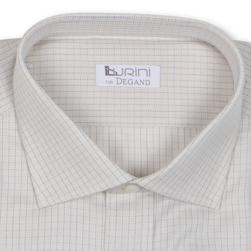 Checked Beige Double Cuff Shirt