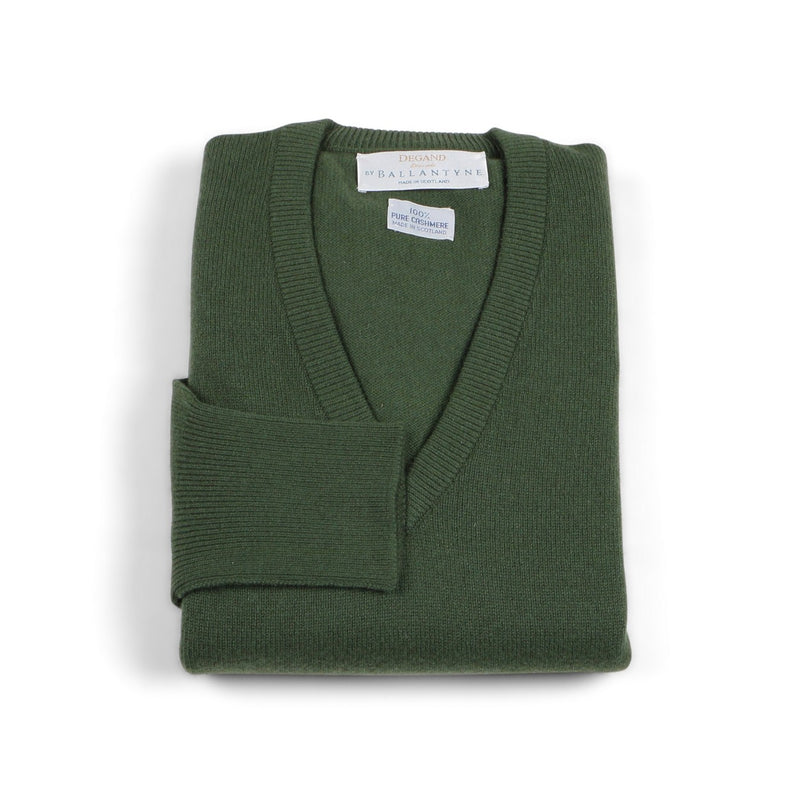 Sicilian Green Cashmere Burns V-Neck Pullover