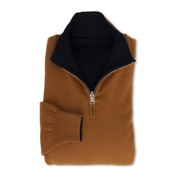 Vicuna and Navy Reversible Zipped Pullover