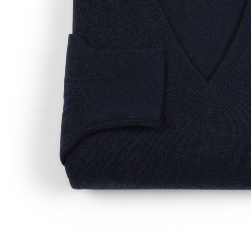 Navy Black Cashmere V-Neck Pullover