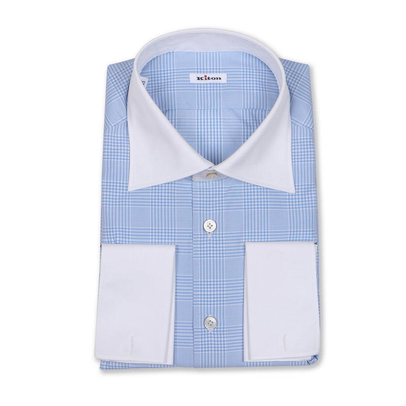 Checked Light Blue Double Cuff Shirt
