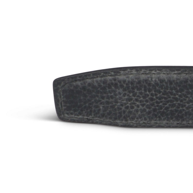 Black Grained Leather Belt. Thin silver buckle.