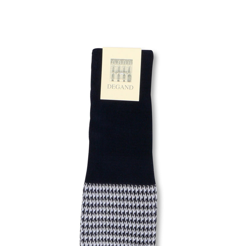 Houndstooth Navy and White Scotland Thread Long Socks