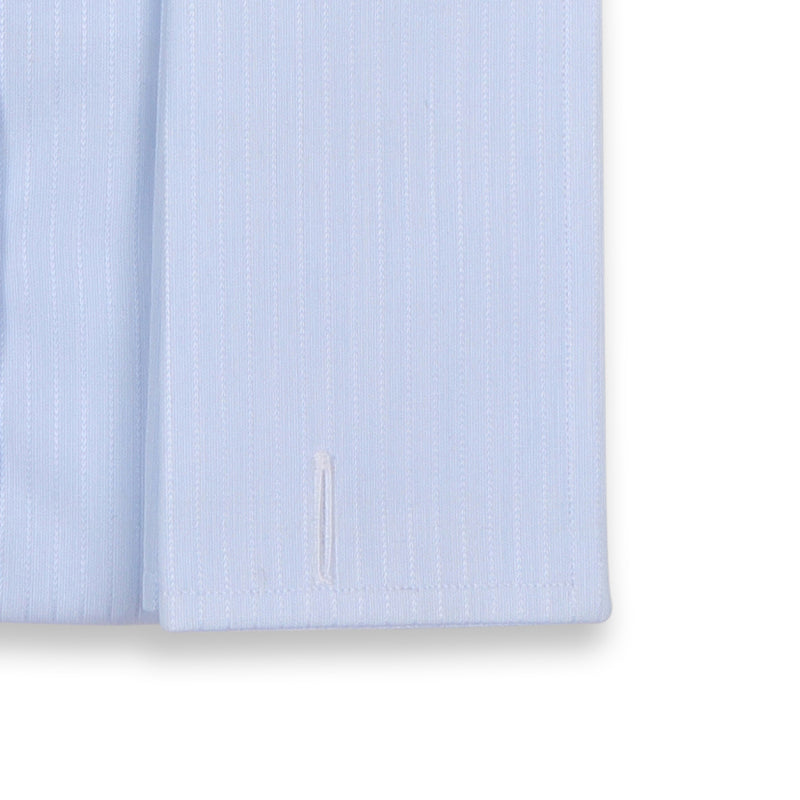 Striped tone on tone Light Blue Double Cuff Shirt