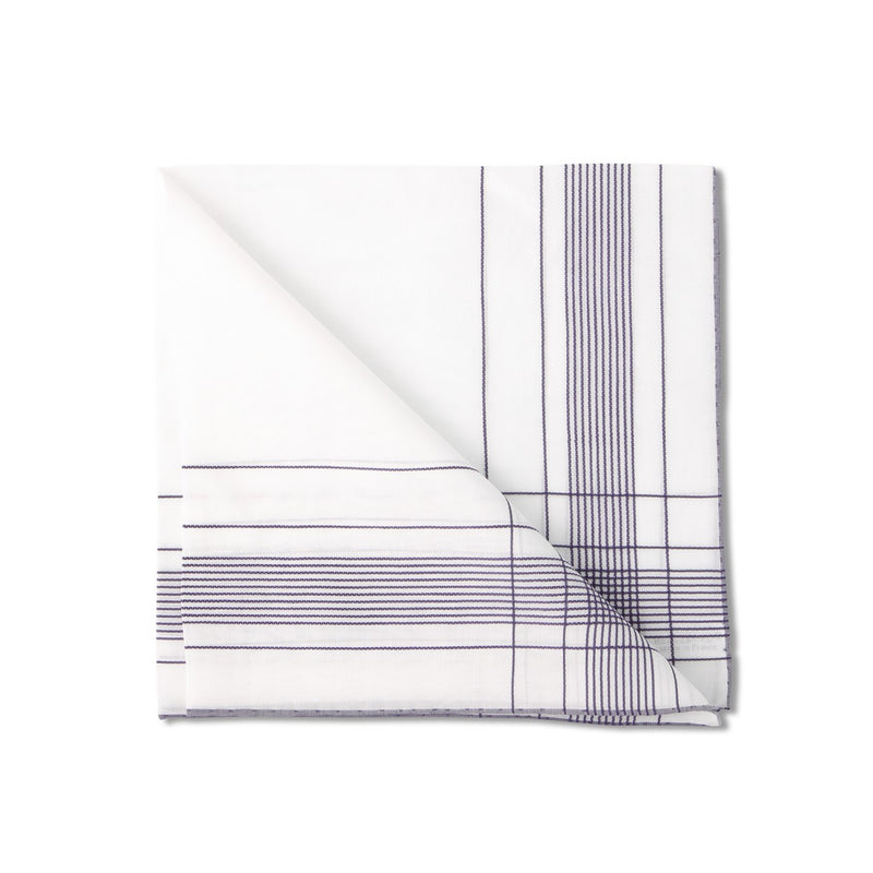 Striped 42cm White Handkerchief