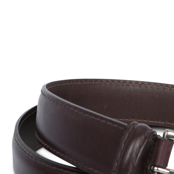 Burgundy Stitched Smooth Leather Belt
