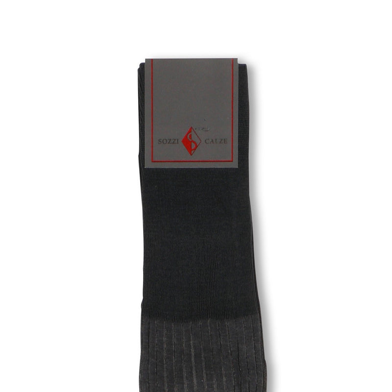 Plain Dark Grey and Light Grey Plated Scotland Thread Long Socks