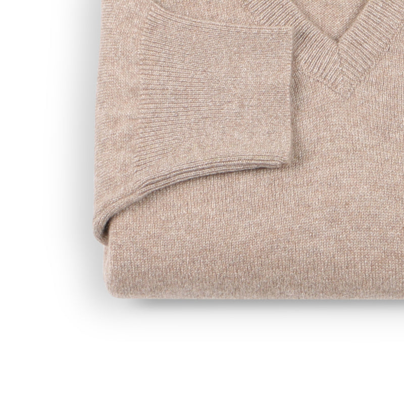 Dark Natural Cashmere V-Neck Pullover