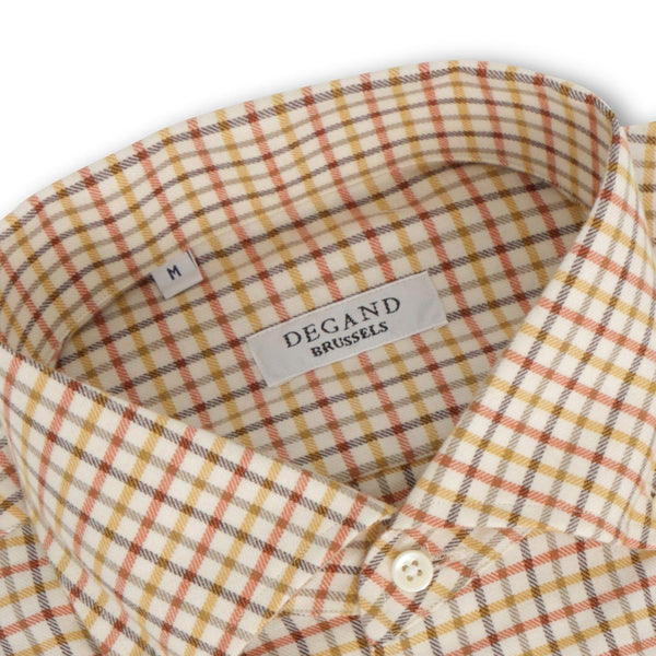 Checked White and Orange Cashmere Shirt