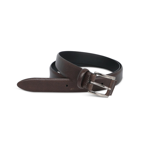 Brown Grained Leather Belt
