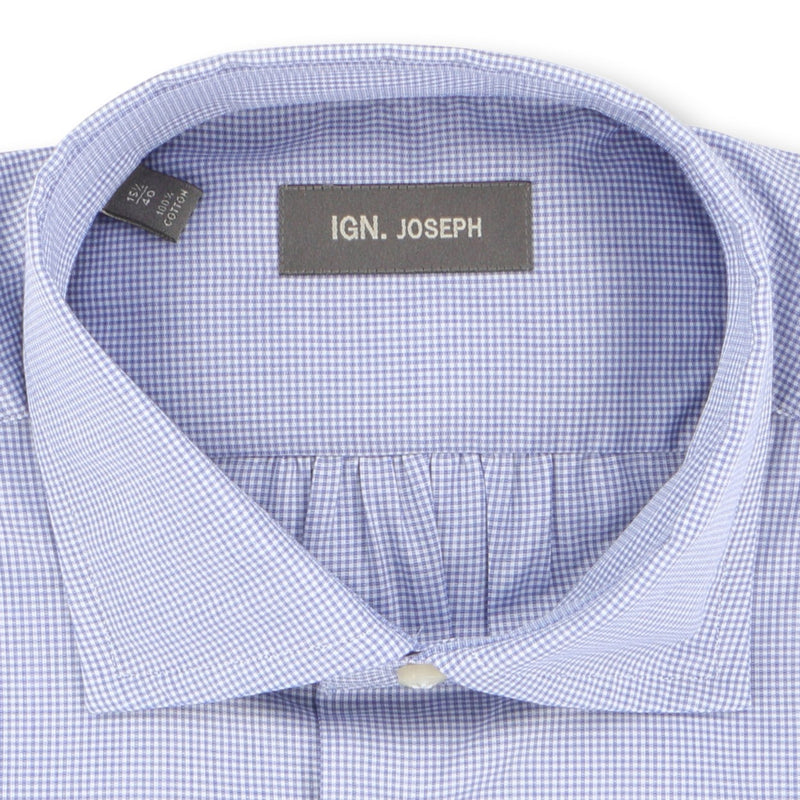 Checked White and Navy Double Cuff Shirt