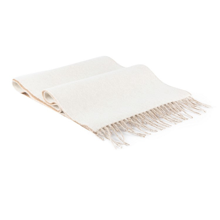Camel and Chalk Reversible Angora Scarf