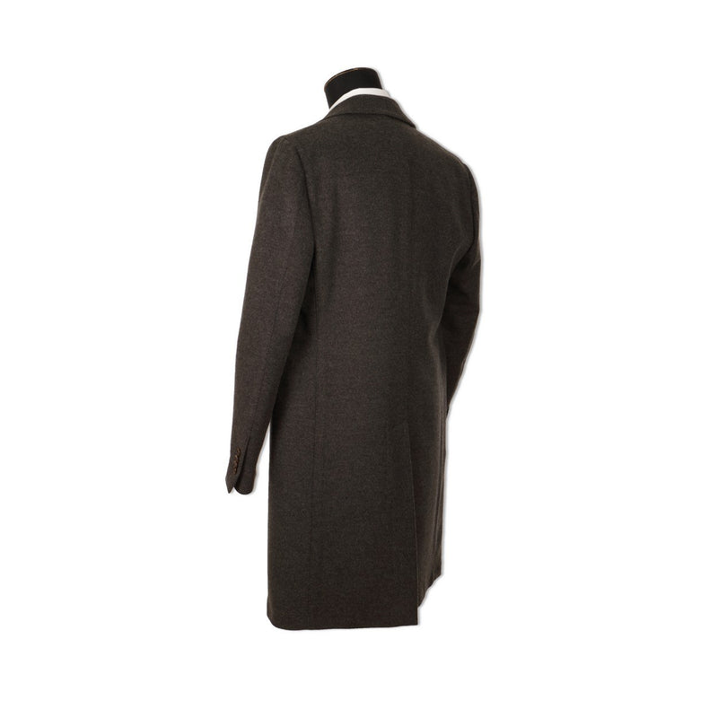 Plain Grey Wool and Cashmere Coat