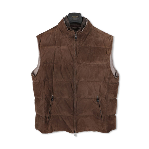 Brown Cisalpino Suede Quilted Gilet — Airstop Lining