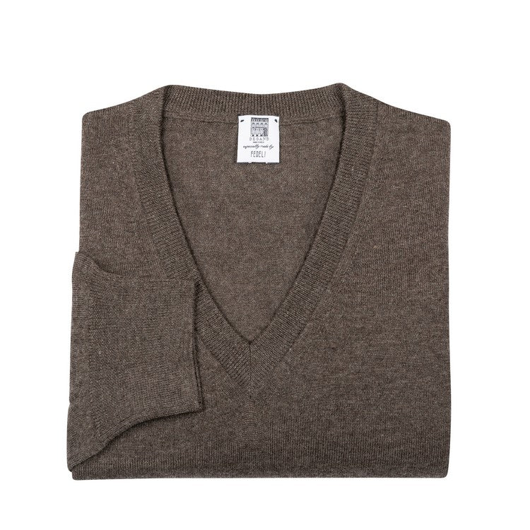 Long Sleeve Pullover - V-neck - Chiné Brown