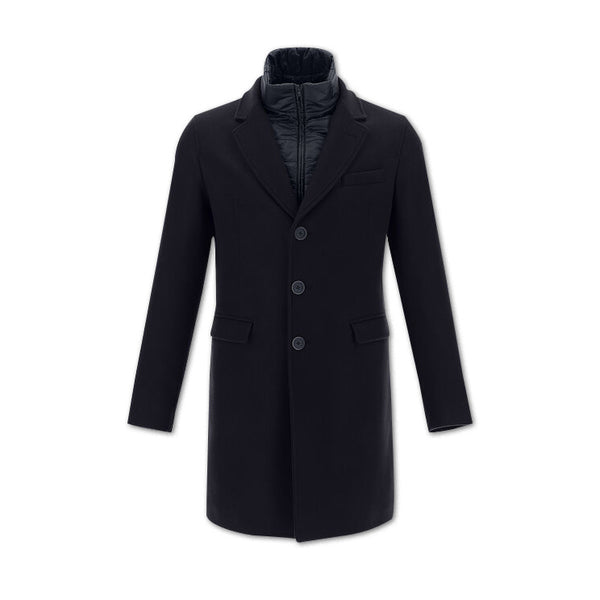 Navy Diagonal Wool Coat