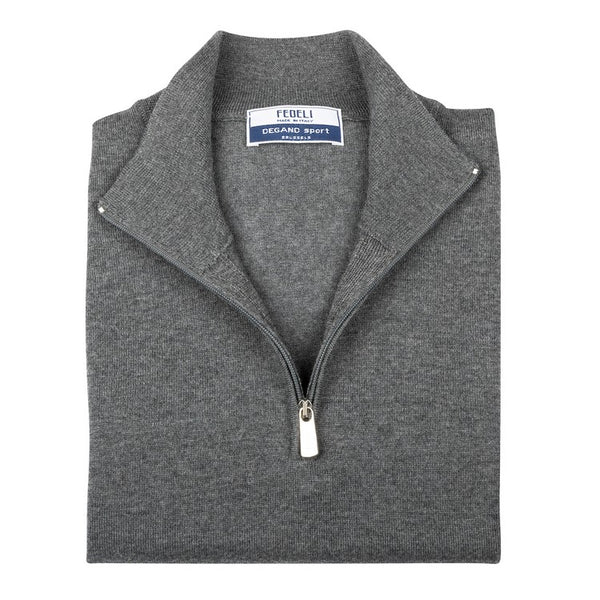 Long Sleeve Pullover - High Neck Zipped - Medium Grey