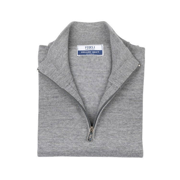 Long Sleeve Pullover - High Neck Zipped - Light Grey