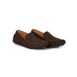 Driver Loafers in Earth Brown Suede