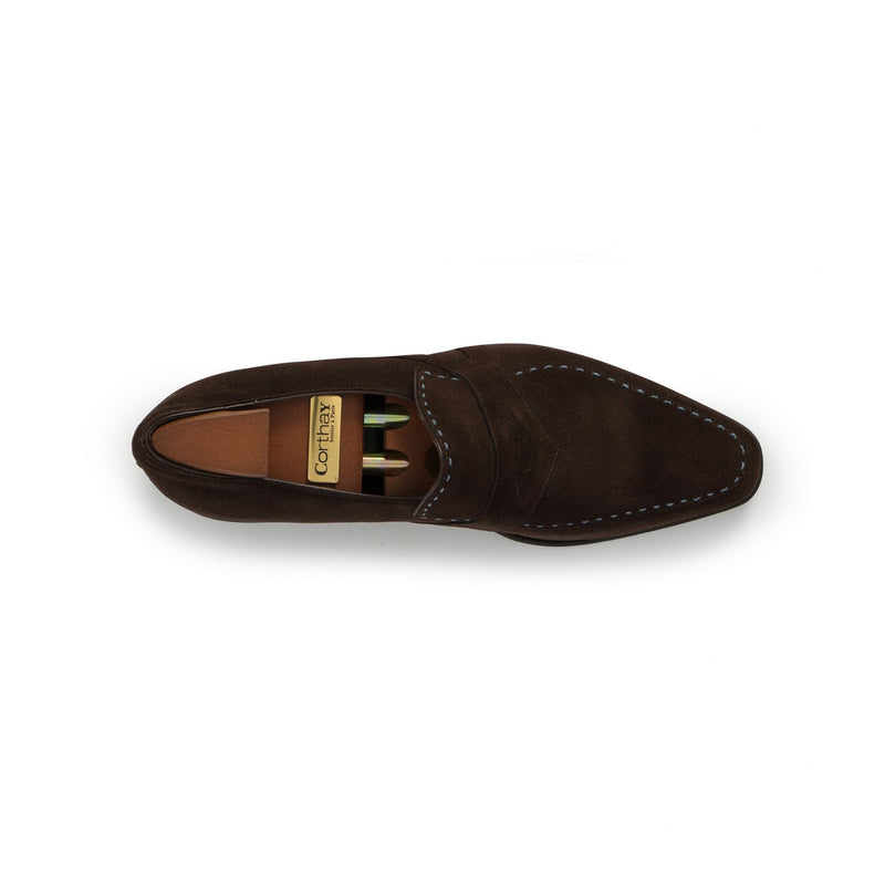 Rascaille Loafers in Dark Brown Calf Suede with Blue Piping