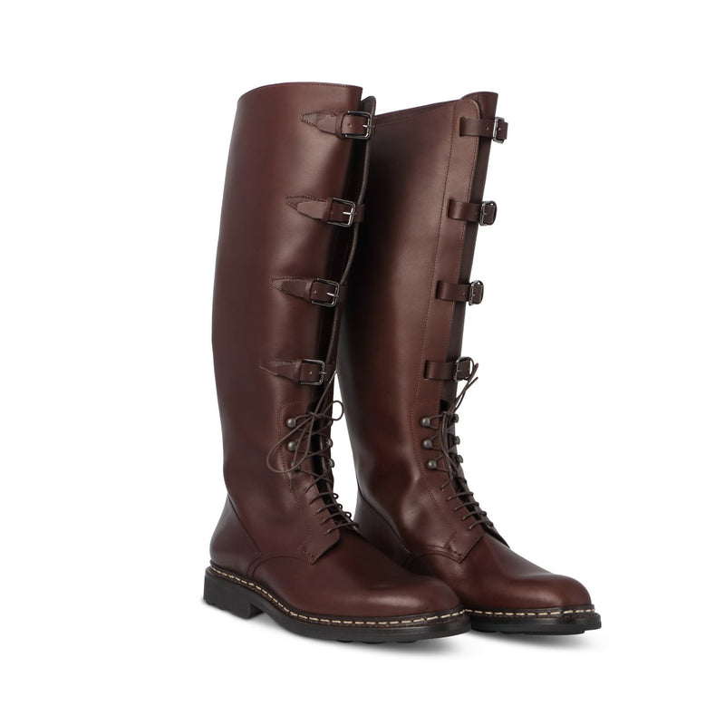 Brown Barenia Leather Military Boots