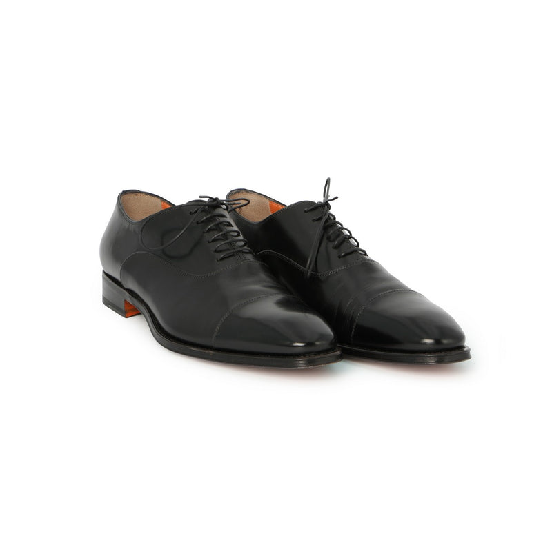 Duke Toe-Cap Laced Oxfords in Black Leather