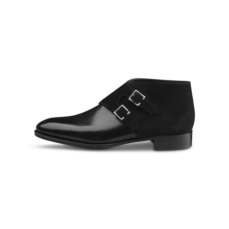 Oake Monks in Black Leather and Suede