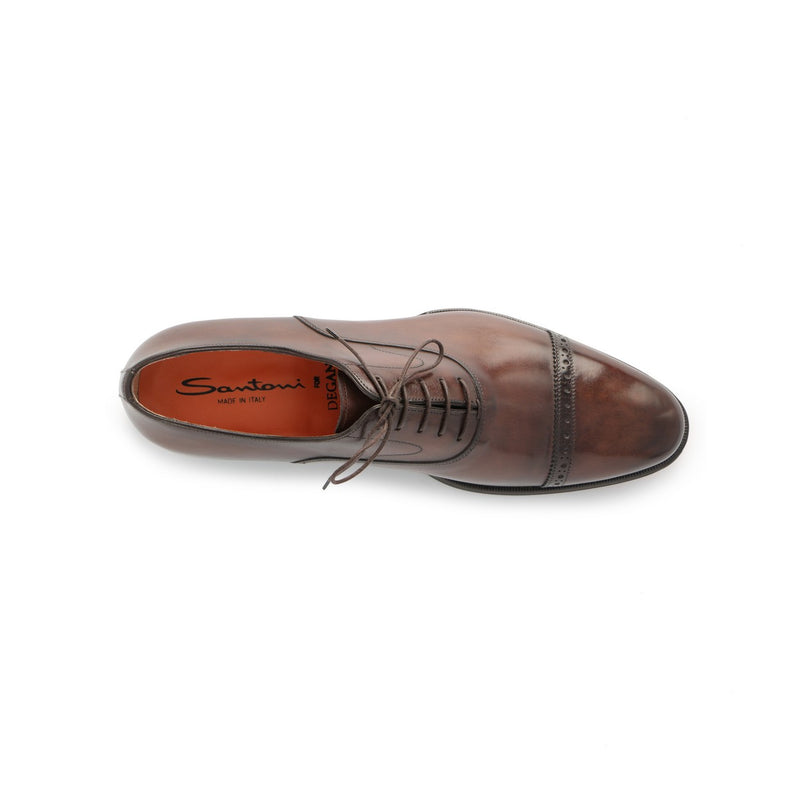 Wilson Toe-Cap Laced Oxfords in Brown Leather