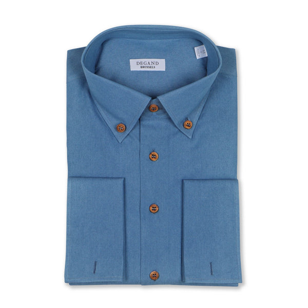 Plain Jean Blue Shirt With Wooden Buttons