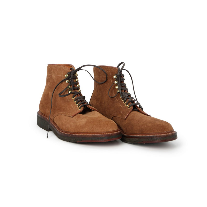 Crepe-sole Laced Boots in Tobacco Suede