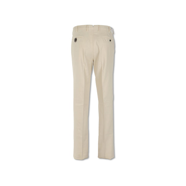 Off White Cotton Twill Slim Pants