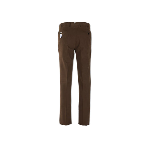 Brown Cotton Twill Slim Pants